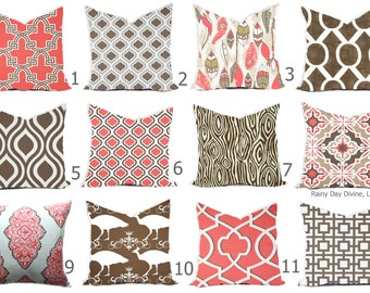 Pillows Cover Custom  - Coral Salmon Brown Chocolate White - All sizes 18x18, 16x16  Throw Accent Toss Modern Abstract Print