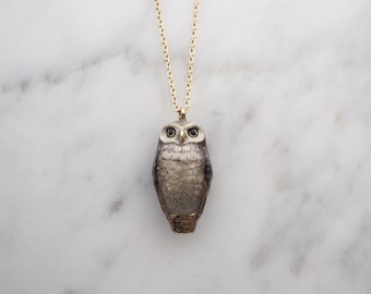 Happy, Spotted Owl whistle pendent Necklace.