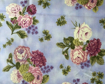 Floral Quilt Fabric ~ Purple Roses, Green on Purple ~ Irish Mist Collection, Ro Gregg for Northcott ~ 100% Cotton ~ By the Yard