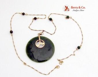 Large Nephrite Pendant Necklace 18K Gold Nephrite Beads