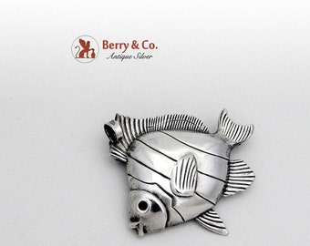 SaLe! sALe! Figural Fish Brooch Pendant Sterling Silver Jewelart 1960