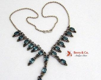SaLe! sALe! Vintage Light Blue Gem Glass  Necklace Sterling Silver