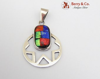 Abstract Pendant Sterling Silver Art Glass