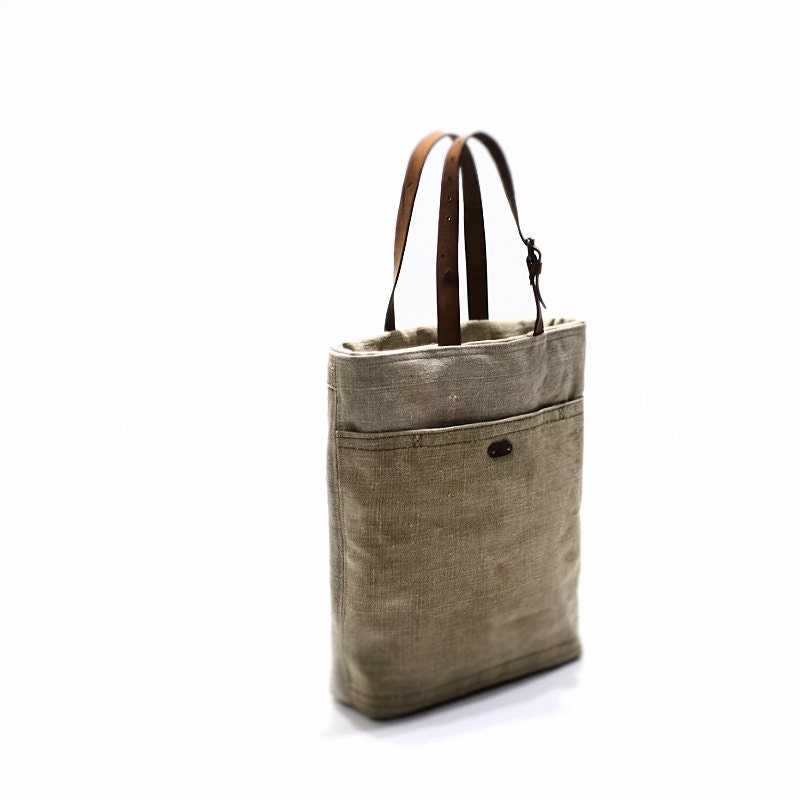 Canvas tote bag with leather handles, tote bag with pocket ...