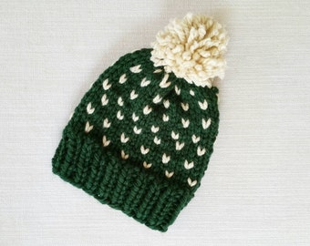 SALE! Child Size Fair Isle Slouchy Hat with Pom Pom, green and cream, kid size