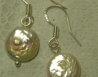 "Cynthia Lynn ""RIVER GEMS"" Cream White Freshwater Pearl Coin Sterling Silver Earrings 1 inch"