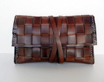 Brown Leather Wallet, Sale,Brown Wallet, Handmade Wallet, Mens Wallet, Woven Wallet,Camel Leather ,Simple Wallet, Leather Clutch Bag