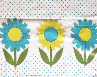 Vintage 1960s Plastic Picnic Tablecloth Turquoise and Yellow Flowers and Polka Dots