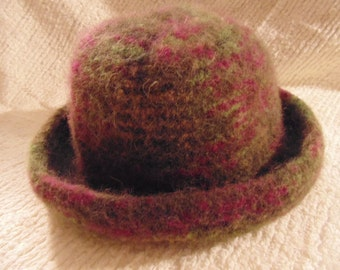 Felted knit, wool hat. Olive green with cranberry, light olive, light gold.