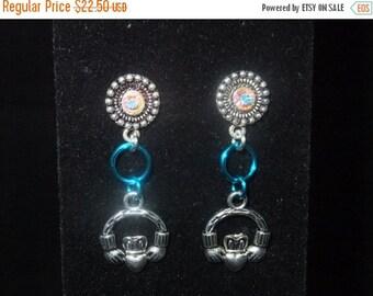 ON SALE Jeweled Turquoise Claddagh Stud Earrings