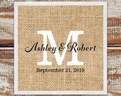 Cocktail Napkins, 100 Rustic Wedding Cocktail Napkins, Personalized Napkins, Wedding Monogram Napkins Rustic Burlap Printed Design