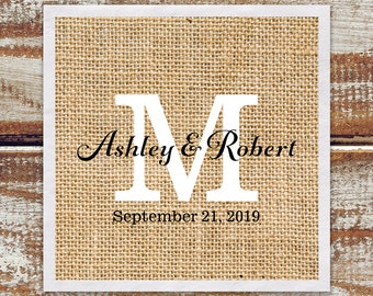 Rustic Wedding Reception Napkins | Custom Monogrammed Paper Beverage Napkins W/ Rustic Burlap Printed Background | Quantity Discounts