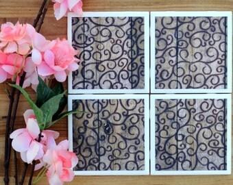 Drink Coasters - Tile Coasters - Ceramic Coasters - Ceramic Tile Coasters - Coaster Set - Table Coasters - Distressed Wood Coasters