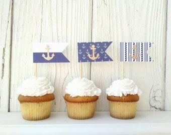 12 Nautical Cupcake Toppers-Gold Anchor Topper-Nautical Shower-Baby Shower Decor-First Birthday Treat Topper-Navy and Gold Nautical Flag