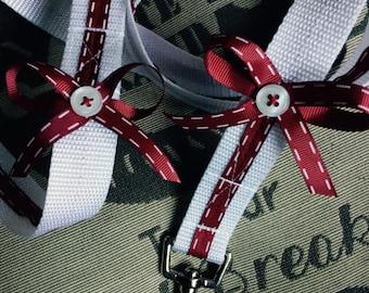 "Handmade Dog puppy leash lead with red white stitch ribbon 47"" X 1""  (120cm X 2.5cm) long"