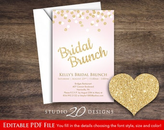 Instant Download Pink Gold Glitter Invitations Editable Pdf, 4x6 Glitter Bridal Brunch Invitations, DIY Printable AUTOFILL enabled 28A