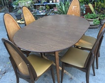 Mid Century Modern Stakmore Dining Set Table 6 Chairs 1 Leaf Folding Chairs Cane Walnut Retro