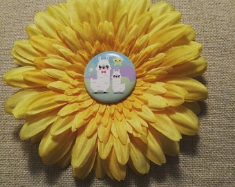Happy Llama Yellow Flower Hair Clip