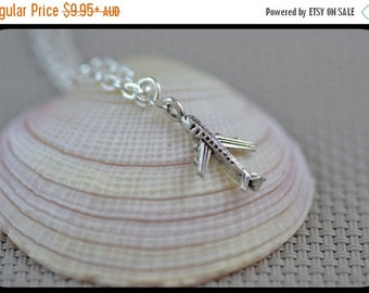 SALE Tiny Airplane Necklace, Plane, Travel, Adventure, Graduation, Vacation, Cute Gift