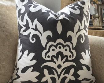 Charcoal Grey Damask &  Burlap Pillow Cover 20 x 20