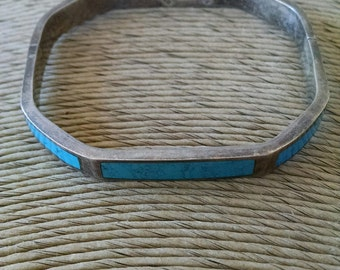 Vintage Mexico Taxco Sterling Silver and Inlaid Turquoise Hinged Bracelet - Marked TF-49