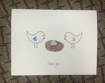Baby Shower Thank You Cards - Bird Nest Egg - Set of 10