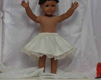 6 Inch-Ivory Cotton 1/2 Slip for an 18 Inch Doll American Girl-Shown on my American Girl Doll