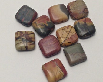 8 Picasso jasper puff square stone beads/ 13mm  #PP007