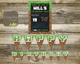Pixel Made Birthday Invitation & Banner