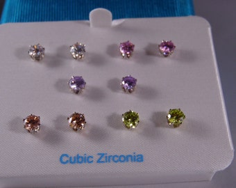Cubic Zirconia Lime green ,Pink, Clear,Light Purple And Amber Color Pierced Earring Set Silver Tone Earring Set In excellent Shape
