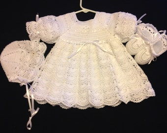 Crocheted Baby Girl Christening Dress Set w/Slip.  Baptism Dress Set w/Slip.
