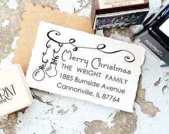 Custom Christmas Stamp, Christmas Return Address Stamp, Holiday Address Stamp,  Christmas Address Stamp,   Merry Christmas Stamp, 10161