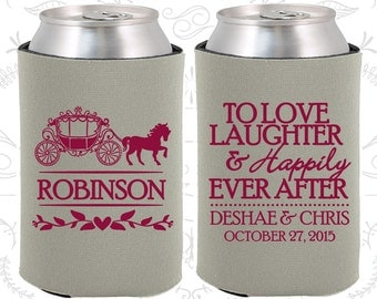 Love Laughter Happily Ever After, Wedding Party Gifts, Princess Carriage, Fairy Tale Wedding Gift, Wedding Can Coolers (443)