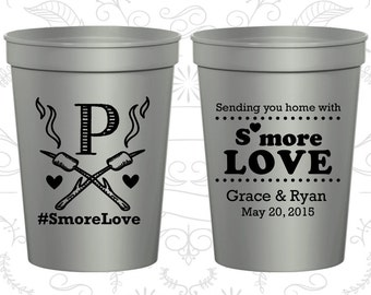 Sending you home with smore love, Printed Wedding Cups, Smore Love, Monogram Cups, Camping Wedding, plastic stadium cups (586)