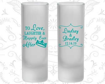 Love Laughter Wedding, Frosted Tall Shot Glasses, Crown (279)
