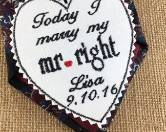 Bridegroom WEDDING TIE PATCH Personalized - Grooms Gift, Today I Marry My Mr Right -  Iron-On Patch, Sew-On Patch, Wedding Patch, Tie Patch