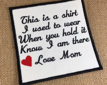 Memory Patch INSTANT DIGITAL DOWNLOAD - This is a shirt, Love Mom,  4 x 4 Hoop, Embroidery Machine Download, Memory Patch, Instant Download
