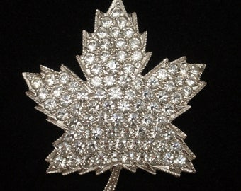 Rhinestone Maple Leaf Pin