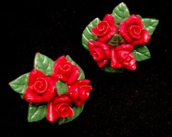 Red Roses Earrings Vintage Japan