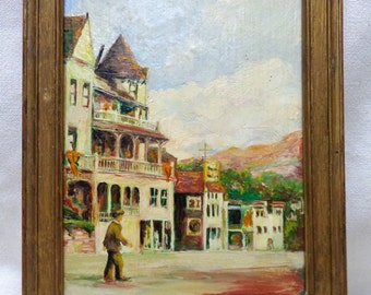 1956 Rodarty Architectural Oil Painting on Board w. Antique Golden Wood Frame
