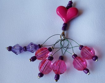 6 x Beaded Stitch Markers with Holder for Knitting - Small