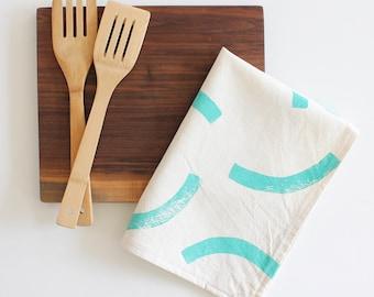 tea towel sea green tossed block print