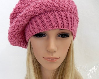 Knit Hat Slouchy Beret Beanie Handmade. .. RASPBERRY PINK (Ready to Ship)