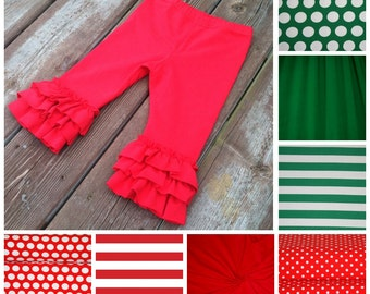 Ruffled Leggings for baby, toddler, girls. Christmas, holiday colors. Red, polka dot, green, and striped