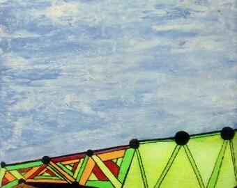 Cuadro pintura abstracta, efecto diluido, colores fluor, corcho, medida mediana, cuadro de pared, colores vivos.
