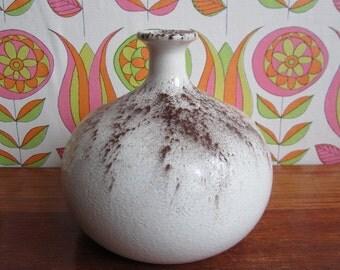 Vintage Veba Glas Kreta vaas geperst glas uit witte cacao afstoffen half eeuw moderne glaswerk kaars houder Duitsland Duitse ontwerp van 1970