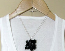 Blooming Flower Necklace-Black Statement Necklace- Handmade- Eco Friendly- Black Flower Necklace- Eco Friendly Pendant- Black Unique Flower
