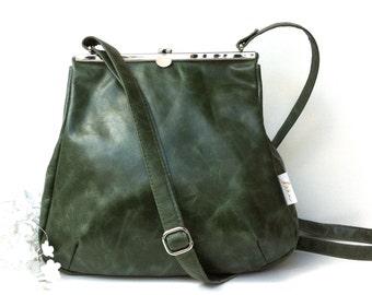 "leather bag, kaa berlin, Klipper ""SMARAGD"", handbag green"