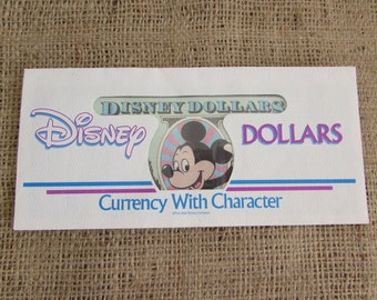 1991 Disney Dollar with Mickey Mouse, Old disney Dollar with Envelope, Disney Dollars 1991, Disney Dollar with Envelope 1991,