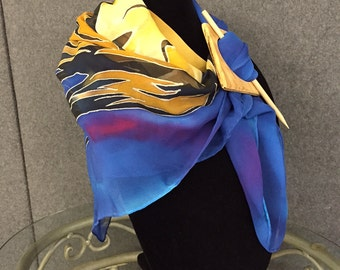 Equine Blues - Hand Painted Silk Scarf